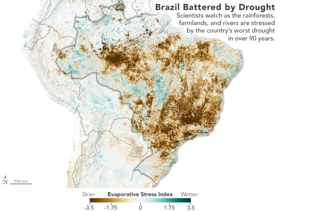 NASA divulga imagens de satélite da grave seca que atinge o Brasil - 2